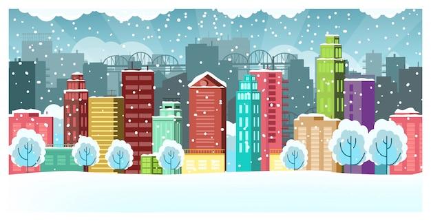 Paisaje invernal con casas, puentes y rascacielos.