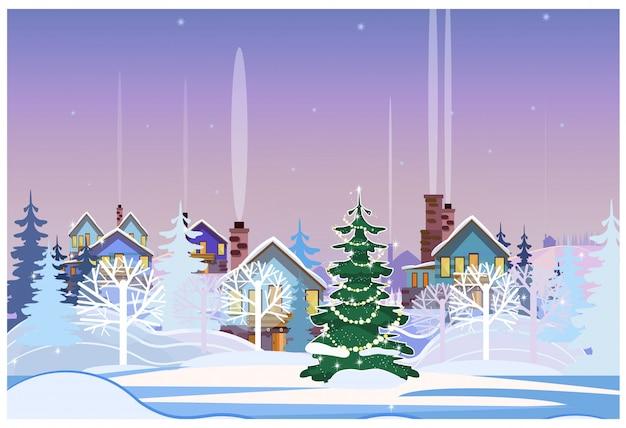 Paisaje invernal con casitas y abeto decorado.