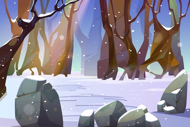 Paisaje invernal del claro del bosque con nieve y árboles desnudos.