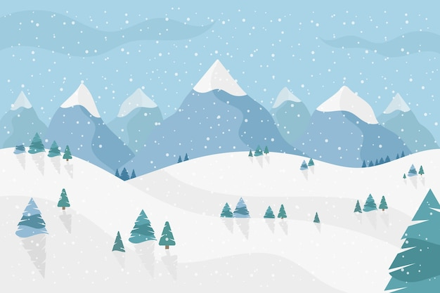 Paisaje invernal en diseño plano