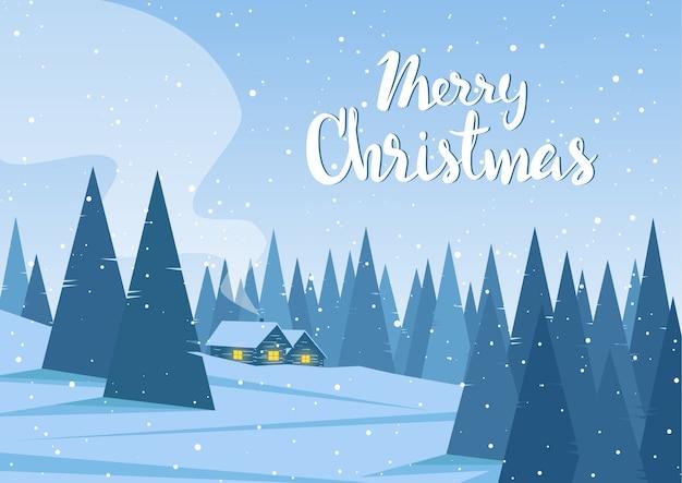 Paisaje invernal con dos casas en el bosque y letras manuscritas de feliz navidad.