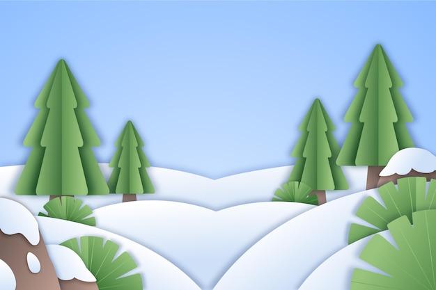 Paisaje invernal en estilo papel