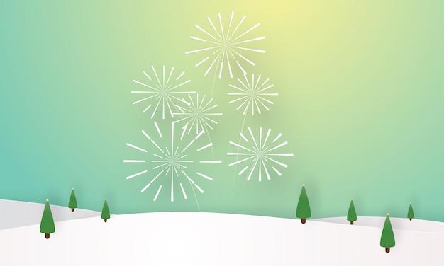 Paisaje invernal con fuegos artificiales, temporada de invierno, corte de capas de papel