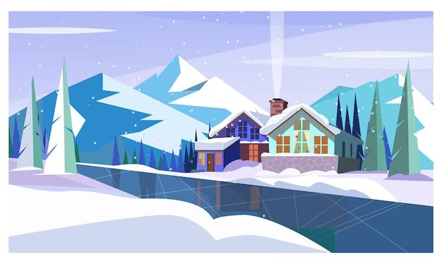 Paisaje invernal con montañas, río helado y casas de campo.