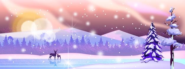 Paisaje invernal de navidad y año nuevo con río congelado, bosque en la nieve, silueta de venado