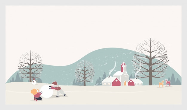 Paisaje invernal de navidad con niños, muñeco de nieve y ciervos