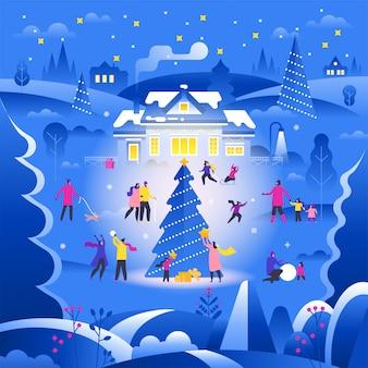 Paisaje invernal con pequeñas personas caminando en la calle suburbana y realizando actividades al aire libre,