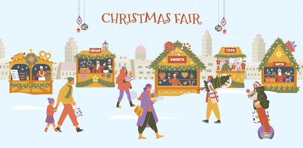 Paisaje invernal con personas y souvenirs de comida, juguetes y tiendas de decoración con vendedores.