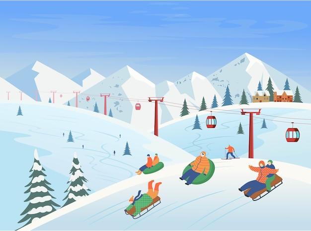 Paisaje invernal con telesillas, montañas, personas esquiando, practicando snowboard. estación de esquí. ilustración.