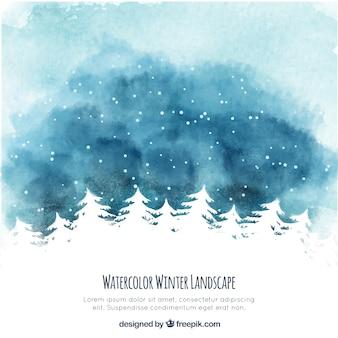 Paisaje de invierno de acuarela con árboles