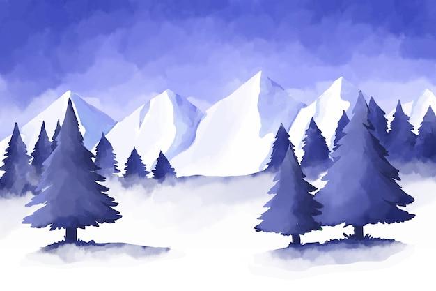 Paisaje de invierno en acuarela