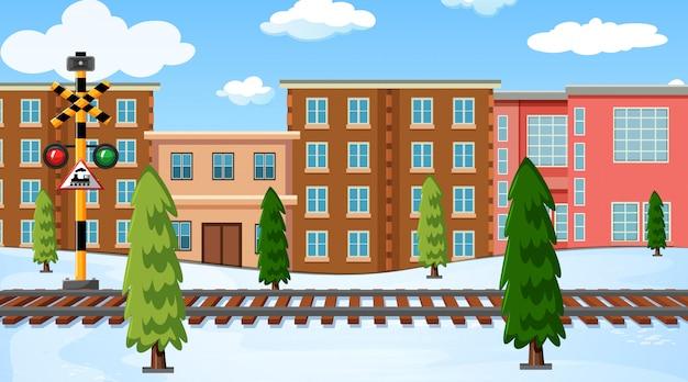 Un paisaje de invierno al aire libre.