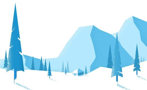 Paisaje de invierno azul con montañas y abetos