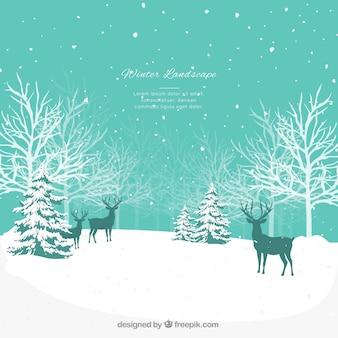 Paisaje de invierno azul con renos