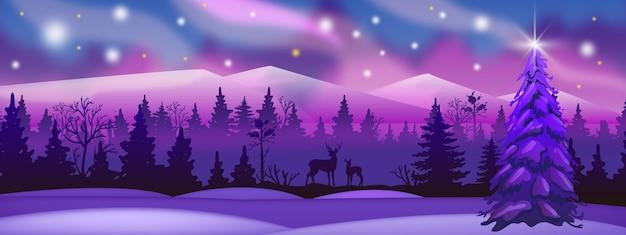 Paisaje de invierno con bosque rosado y violeta, silueta de venado, cielo nocturno. fondo de alaska