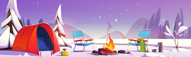 Paisaje de invierno de camping de dibujos animados