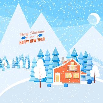 Paisaje del invierno con la casa, los árboles y las piceas pulverizados en bosque en la tierra nevada.