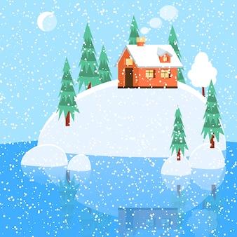 Paisaje de invierno con casa en polvo, árboles, piceas en el suelo cubierto de nieve en el lago.