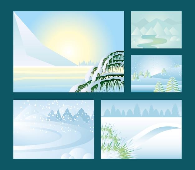 Paisaje de invierno, clima nevado, montañas, árboles, río y camino, escena, conjunto, ilustración
