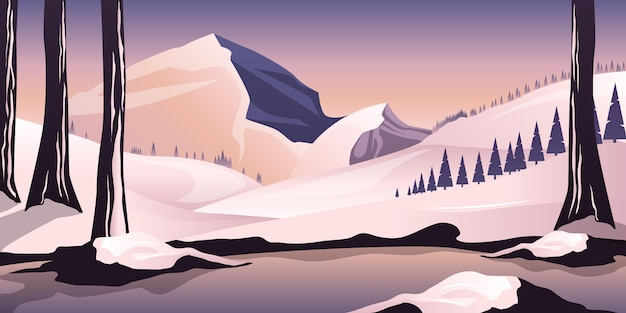 Paisaje de invierno dibujado a mano