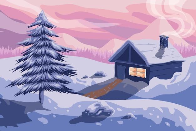 Paisaje de invierno dibujado con pueblo