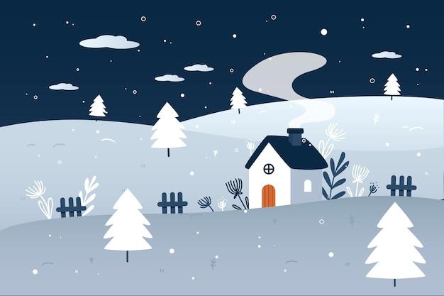 Paisaje de invierno de diseño plano