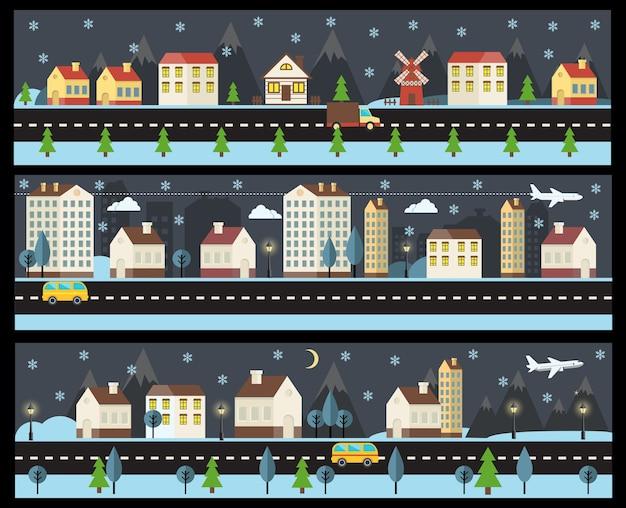 Paisaje de invierno de estilo plano. establecer las calles nocturnas en invierno.