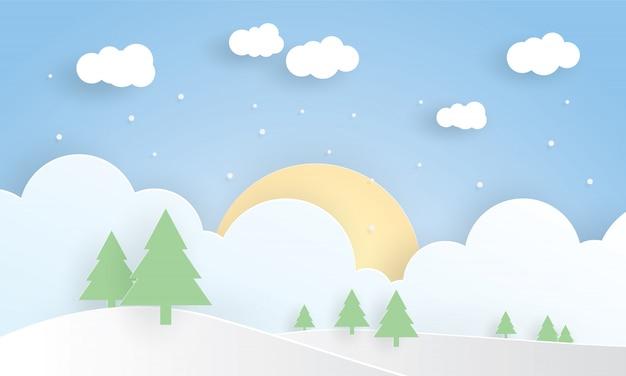 Paisaje de invierno, feliz navidad, corte de capa de papel