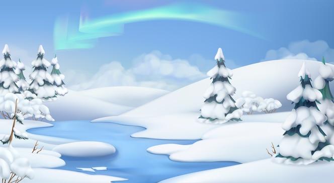 Paisaje de invierno. ilustración de navidad. ilustración vectorial 3d