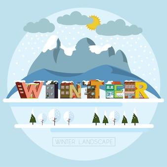 Paisaje de invierno letras decorativas del alfabeto de la casa que forman la palabra invierno. vector illustrati