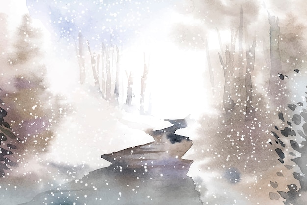 Paisaje de invierno maravilloso pintado por vector acuarela
