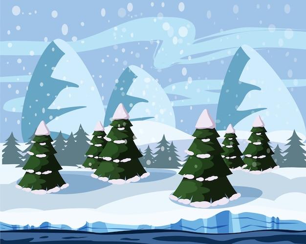 Paisaje de invierno con montañas, árboles, río, estilo de dibujos animados, ilustración vectorial