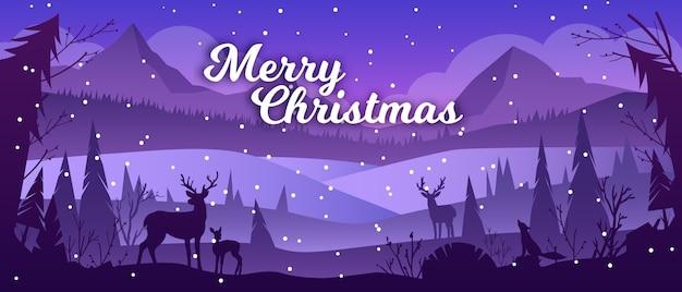Paisaje de invierno de navidad con montañas, nieve, silueta de renos, pinos. fondo de vacaciones