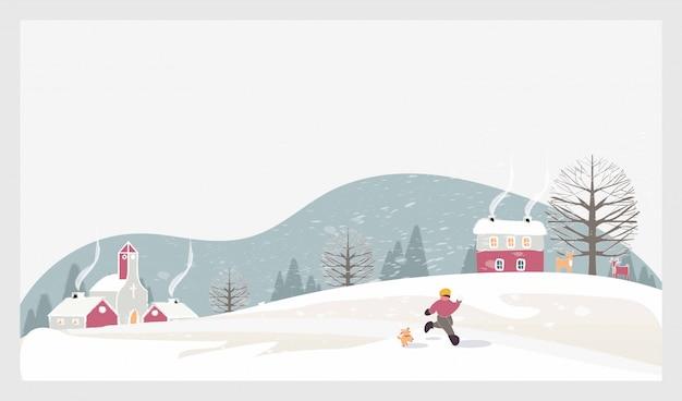 Paisaje de invierno de navidad con niños, nieve y ciervos