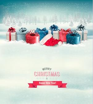 Paisaje de invierno navideño con regalos.