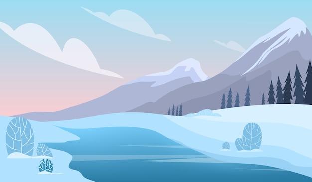 Paisaje de invierno. nieve en el árbol, temporada de color blanco y azul. belleza en la naturaleza, paisajes de diciembre. ilustración en estilo de dibujos animados