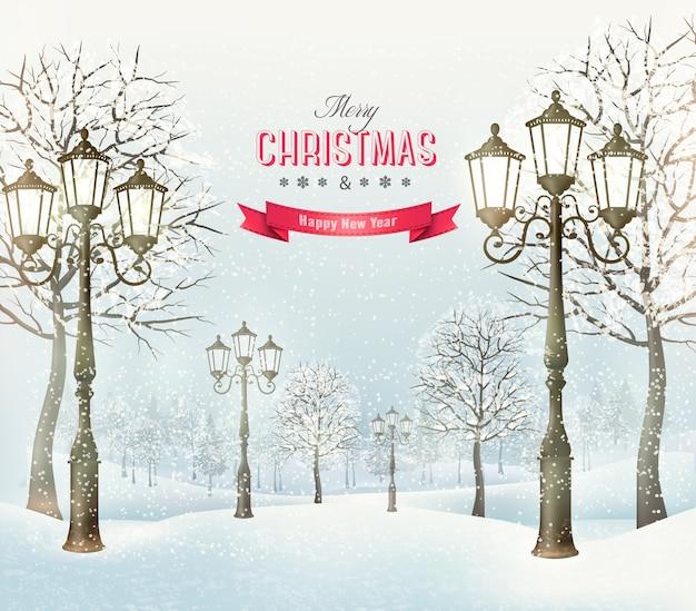 Paisaje de invierno de noche de navidad con farolas vintage.