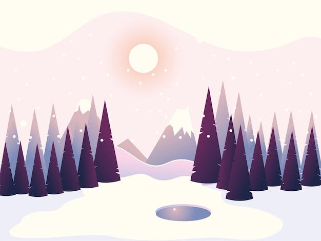 Paisaje de invierno pinos bosque montañas cielo ilustración