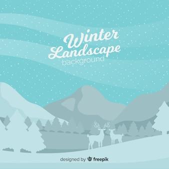 Paisaje invierno siluetas