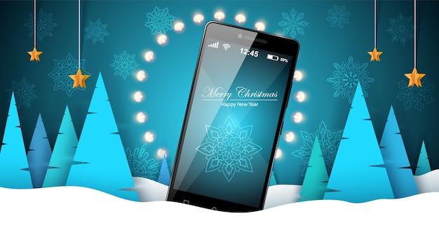 Paisaje de invierno con smartphone