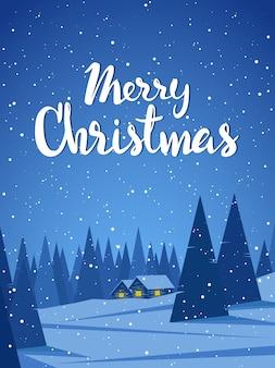 Paisaje de invierno vertical con dos casas en el bosque y letras escritas a mano de feliz navidad.