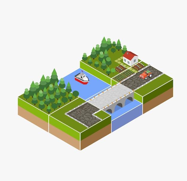 Paisaje isométrico de campo con granja, tractor, cosecha, las camas y el río.