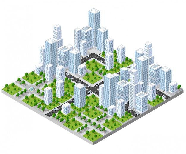 Paisaje isométrico de la ciudad