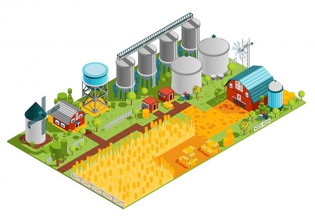 Paisaje isométrico de edificios de granja