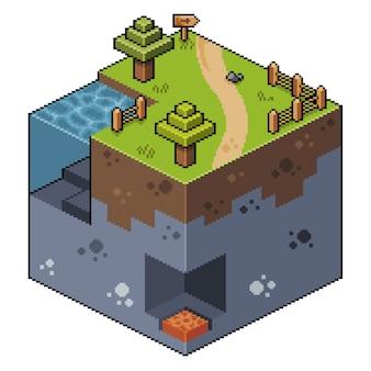 Paisaje isométrico de pixel art con árboles, lago y cueva, juego de bits