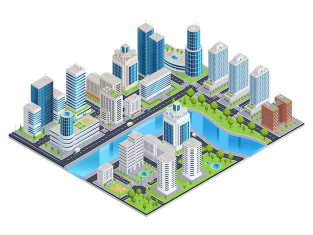 Paisaje isométrico urbano moderno