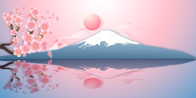 Paisaje de japón, montaña fuji, sakura cayendo