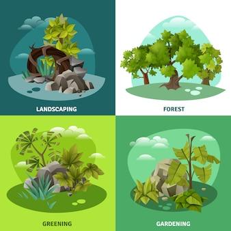Paisaje jardinería concepto de 4 iconos planos