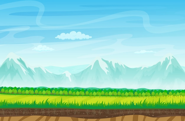 Paisaje de juego con montañas de rocas.