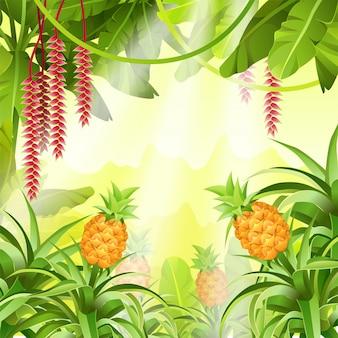 Paisaje de juego con plantas tropicales